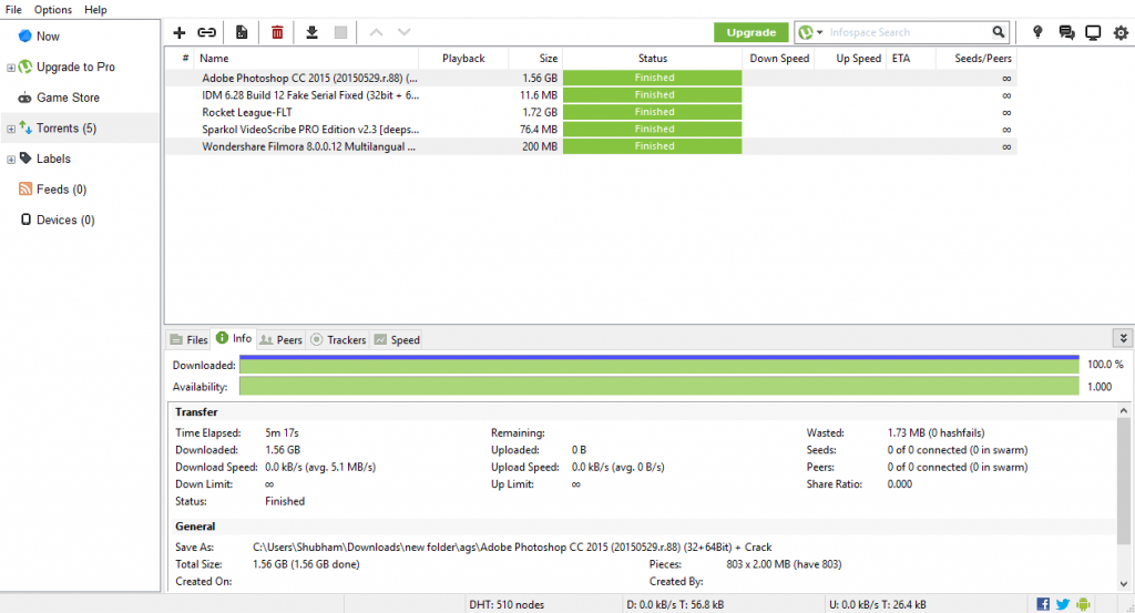 Removing ads from utorrent