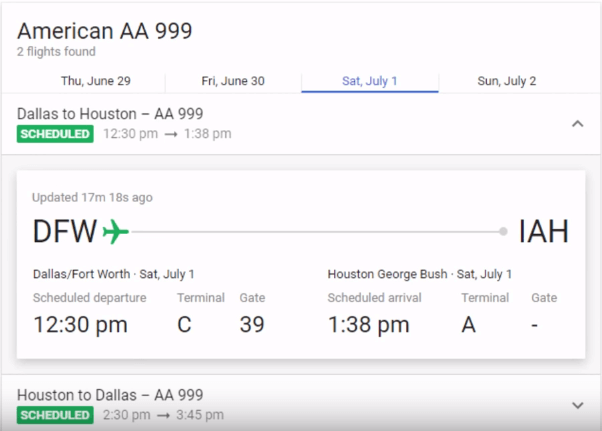 google feature to track flight status